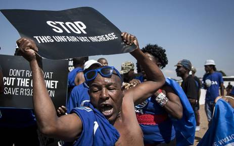 DA member singing during the march against Vat increase in Pretoria on the 6 March 2018. Picture : Sethembiso Zulu/ EWN