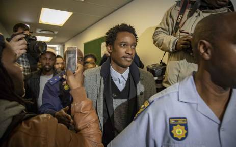 Duduzane Zuma leaves the Commercial Crimes Court after being charged with corruption and granted R100k bail. Picture: Thomas Holder/EWN