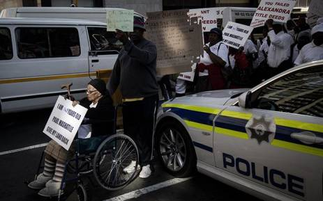 A group of elderly people from the Alexandra township staged a protest outside Luthuli House, Johannesburg demanding title deeds on the 8 August 2018. Picture: Sethembiso Zulu/EWN
