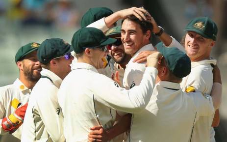 FILE: Mitchell Starc and the Australian team celebrate their 18-run victory in the second Test against Pakistan. Picture: @CricketAus/Twitter