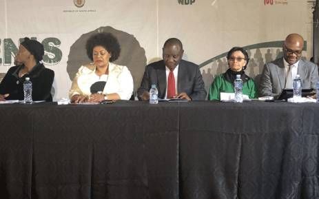 President Cyril Ramaphosa (centre)  addressed a Women's Day event at the Mbekweni Rugby Stadium in Paarl. Picture: Graig-Lee Smith/EWN.