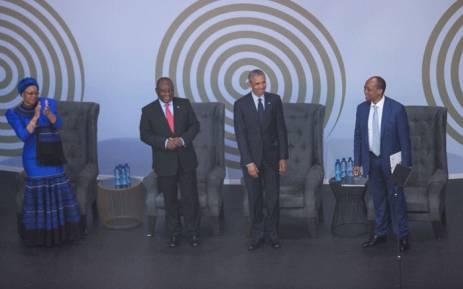 (From L to R): Graca Machel, President Cyril Ramaphosa, former US president Barack Obama and businessman Patrice Motsepe. Picture: Qaanitah Hunter/EWN.