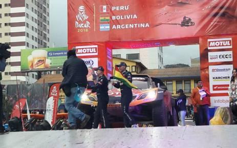 Stephane Peterhansel (right) on the Dakar Rally podium in La Paz, Bolivia on 11 January 2018. Picture: @dakar/Twitter
