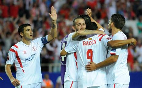 Sevilla FC celebrate after beating Fiorentina in the Europa League semifinal first leg on 7 May 2015. Picture: Sevilla FC.