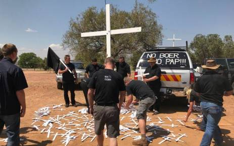 Protesters gather at the Taal Monument in Pretoria on 30 October 2017 in support of the Black Monday movement highlighting farm murders in South Africa. Picture: Christa Eybers/EWN