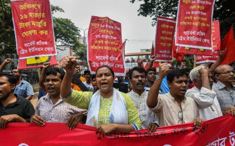 Activists from Bangladeshi garments organisation hold a rally in Dhaka on 14 September 2018. Picture: AFP