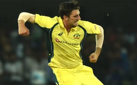 Australia fast bowler Pat Cummins celebrates taking a wicket. Picture: AFP