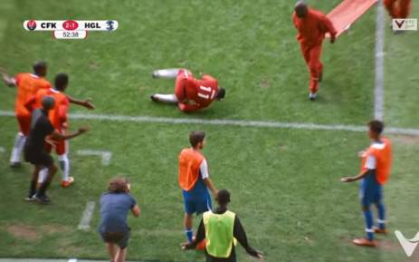 Youtube screengrab of KFC's advert depicting the antics of 'injured' soccer players.