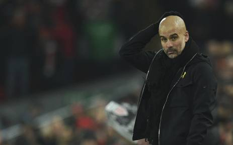 Manchester City's Spanish manager Pep Guardiola reacts on the touchline during the English Premier League football match between Liverpool and Manchester City at Anfield in Liverpool, north west England on 14 January, 2018. Picture: AFP.