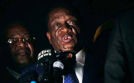 Emmerson Mnangagwa speaks at Zimbabwe's ruling Zanu-PF party headquarters in Harare on 22 November 2017. Picture: AFP.