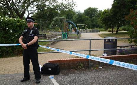 FILE: A police officer stands at a cordon at Queen Elizabeth Gardens in Salisbury on 4 July 2018. Picture: AFP.