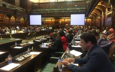 ANC MPs attend a special caucus meeting in Parliament on 14 February 2018. Picture: @ANCParliament/Twitter