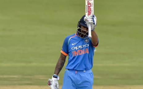 Kohli Dhawan celebrates a century in his 100th ODI against the Proteas at the Wanderers on 10 February 2018. Picture: Cricket SA