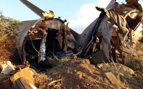 The remains of a charter aircraft that crashed near Wonderboom Airport, north of Pretoria. Picture: Twitter