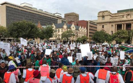 People gather at Church Square in Pretoria ahead of a Save South Africa march to the Union Buildings on 7 April 2017. Picture: Barry Bateman/EWN.