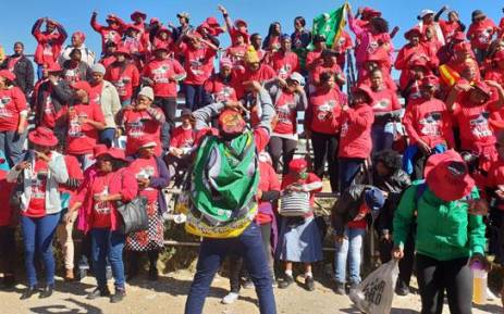 FILE: Nehawu members gather at the Montshioa Stadium in Mahikeng ahead of a protest march on 16 May 2018. Picture: Louise McAuliffe/EWN