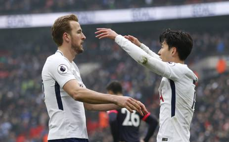 Tottenham Hotspur's Harry Kane and Son Heung-min celebrate a goal against Huddersfield Town at Wembley. Picture: @SpursOfficial/Twitter.