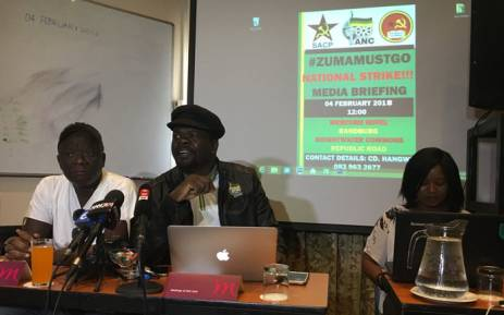 A group claiming to be members of the African National Congress briefed the media on Sunday 4 February on their plans for a national shutdown if President Jacob Zuma is not recalled. Picture: Pelane Phakgadi/EWN