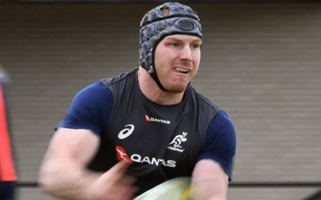 Australia loose forward David Pocock during a training session. Picture: AFP