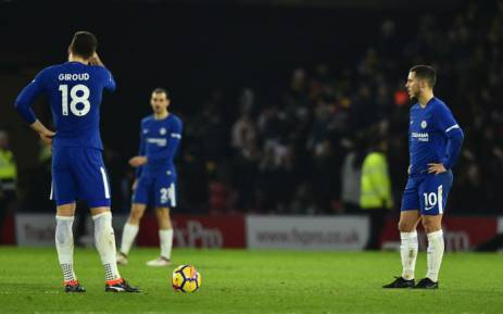Chelsea's Olivier Giroud and Eden Hazard react after conceding a goal to Watford at Vicarage Road Stadium in Watford, north of London on 5 February, 2018. Picture: AFP