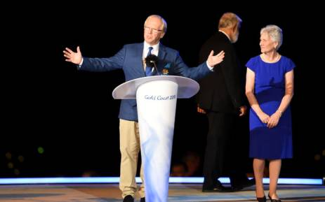 GOLDOC chairperson Peter Beattie during the closing ceremony of the 2018 Commonwealth Games. Picture: AFP