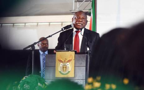 President Cyril Ramaphosa delivers the keynote address on Women's Day at the Mbekweni Rugby Stadium in Paarl in the Western Cape. Picture: Twitter/@SAgovnews