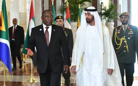 President Cyril Ramaphosa talking to His Highness Sheikh Mohamed bin Zayed Al Nahyan, Crown Prince of Abu Dhabi. Picture: @PresidencyZA/Twitter.