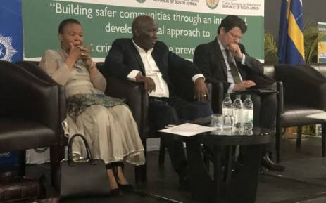 Police Minister Bheki Cele joined by Minister of Social Development Susan Shabangu (left) and CoGTA Deputy Minister Andries Nel (right) at the National Crime Summit in Boksburg on 13 September 2018. Picture: @SAgovnews/Twitter
