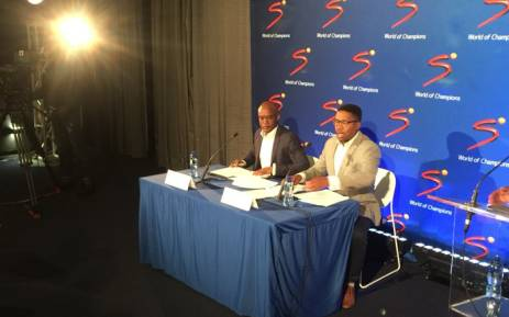 MultiChoice CEO Calvo Mawela (R) and SuperSport CEO Gideon Khobane address the media on 19 June 2018. Picture: Philasande Sixaba/EWN