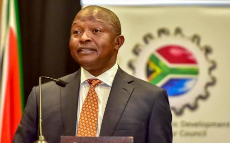 Deputy President David Mabuza addressing the annual National Economic Development and Labour Council summit in Centurion, Johannesburg. Picture: @SAgovnews/Twitter.
