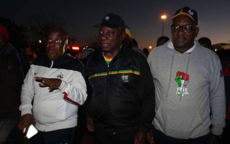 ANC president Cyril Ramaphosa (centre), Health Minister Aaron Motsoaledi (left) and Gauteng Premier David Makhura in Tembisa during an early morning ANC campaign walk on 18 May 2018. Picture: @MYANC/Twitter