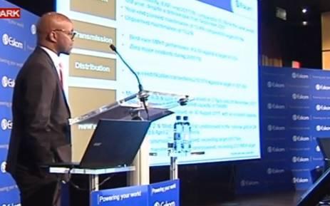 A screengrab of Eskom's acting CEO Phakamani Hadebe at a media briefing.