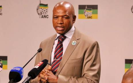 Supra Mahumapelo announces his retirement as North West premier at Luthuli House in Johannesburg on 23 May 2018. Picture: @MYANC/Twitter