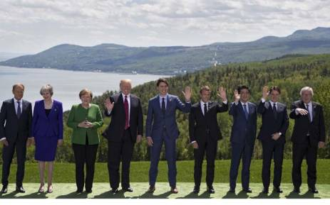 G7 leaders pose for the family photo during the G7 Summit on June 8, 2018 in La Malbaie, Canada. Picture: AFP