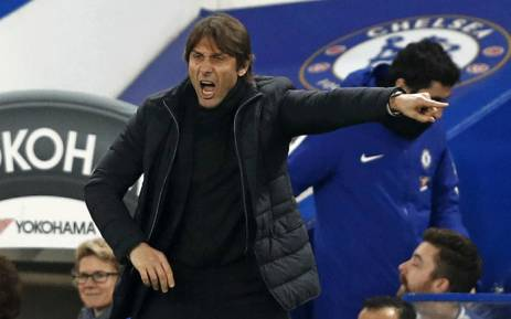 Chelsea's Italian head coach Antonio Conte gestures on the touchline during the English League Cup semi-final first leg football match between Chelsea and Arsenal at Stamford Bridge in London on 10 January 2018. Picture: AFP