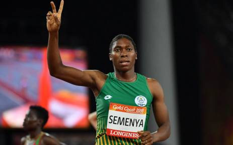 FILE: South African middle-distance runner Caster Semenya celebrates winning gold in the Women's 800m final at the Commonwealth Games in Australia on 13 April 2018. Picture: AFP.