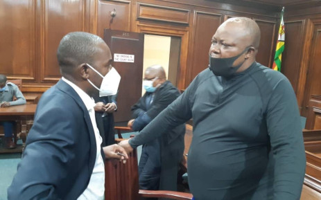 MDC Alliance leader Nelson Chamisa with Job Sikhala in court. Picture: Twitter/@ZimLive