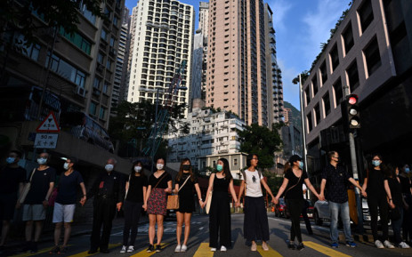 Students, alumni and teachers in the Mid-Levels area take part in a joint 'school human chain rally' in Hong Kong early on 9 September 2019. Picture: AFP