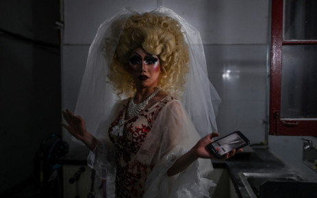 Yan Anyu or Miss Cream from Hebei Province gets ready in the home of a friend in Shanghai on June 13, 2020, before her first presentation as a Drag Queen in a bar of the city of Shanghai. Attitudes toward alternative lifestyles are slowly softening in China, and members of a small but growing drag community have begun to step into the spotlight. Picture: Hector Retamal?AFP