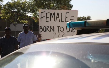 FILE: Demonstrators gather near the Johannesburg Stock Exchange in Sandton on 13 September 2019 in protest against gender-based violence. Picture: Kayleen Morgan/EWN