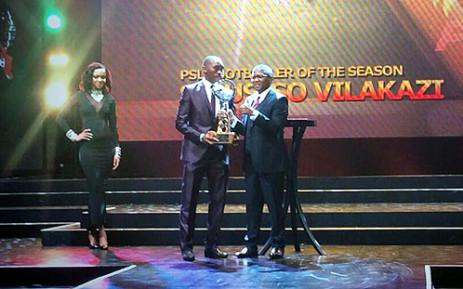 Bidvest Wits player Sibusiso Vilakazi was awarded PSL Footballer of the Season for 2013/14 by Minsiter of Sports and Recreation, Fikile Mbalula, at the PSL Awards Ceremony on 18 May 2014. Picture: via Twitter @MbalulaFikile