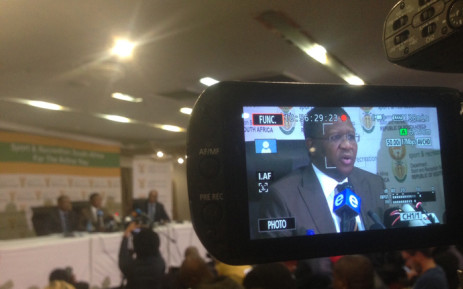 Minister of Sports Fikile Mbalula at the press conference addressing members of the media on the Fifa scandal on 3 June 2015. Picture: Vumani Mkhize/EWN.