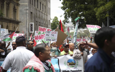A group of religious leaders and protesters have joined demonstrations seen worldwide following US President Donald Trump's contentious move to recognise Jerusalem as Israel's capital. Picture: Cindy Archillies/EWN