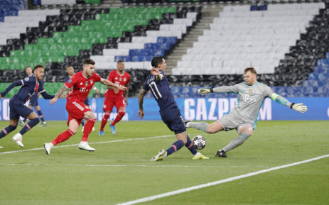 PSG's Angel di Maria's attempt at goal is thwarted by Bayern Munich goalkeeper Manuel Neuer during their Uefa Champions league second leg quarterfinal match on 13 April 2021. Picture: @PSG_English/Twitter