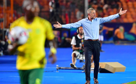 South Africa's coach Stuart Baxter reacts during the 2019 Africa Cup of Nations quarterfinal football match between Nigeria and South Africa at Cairo international stadium on 9 July 2019. Picture: AFP