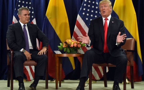 President Iván Duque (L) of Colombia meets with US President Donald Trump at the United Nations in New York 25 September 2018. Picture: AFP