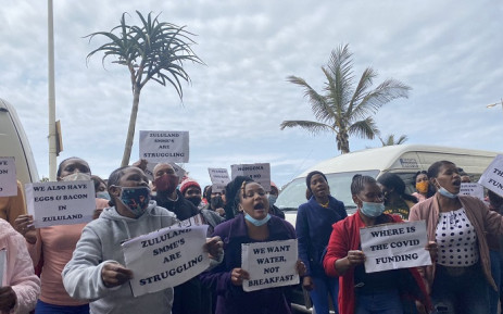 Zululand District community members picket outside  Elangeni Hotel in Durban on 30 September 2021 where the district's major was unveiling a major investment. Community members said that they were not satisfied with the event being held in Durban instead of Zululand. They also demanded assistance in terms of service delivery. Picture: Nhlanhla Mabaso/Eyewitness News.