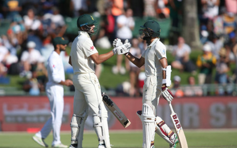 Hashim Amla, right, congratulates on his Aiden Markram 50 during Proteas' match against Pakistan at the Wanderers Stadium. Picture: @OfficialCSA/Twitter.