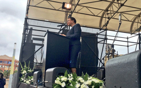 Former First Lady Graca Machel pays tribute to the late Winnie Madikizela-Mandela at a memorial service at the Constitution Hill in Johannesburg on 9 April 2018. Picture: Katleho Sekhotho/EWN.