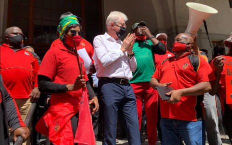Unions hand over their memorandum to Western Cape Premier Alan Winde on 7 October 2020. Picture: Kaylynn Palm/EWN.